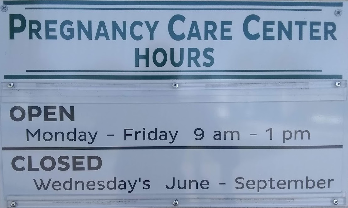 Venice Area Pregnancy Care Center Hours Sign